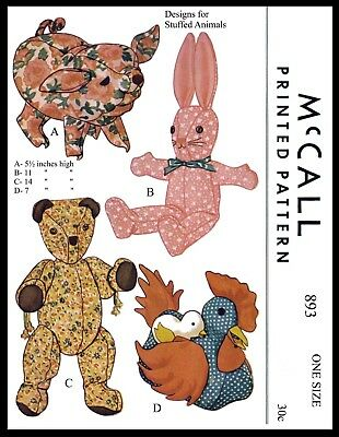 McCall's 893 Sewing Pattern Bear Bunny Hen / Chick Pig Stuffed Animal Toy -