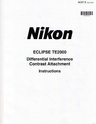 Nikon Te2000 Microscope - Differential Interference Contrast Manual