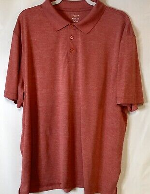 Haggar Cool 18 Performance Plus Golf Polo Heathered Red Shirt Mens Size XL Cool Plus Stripe Polo