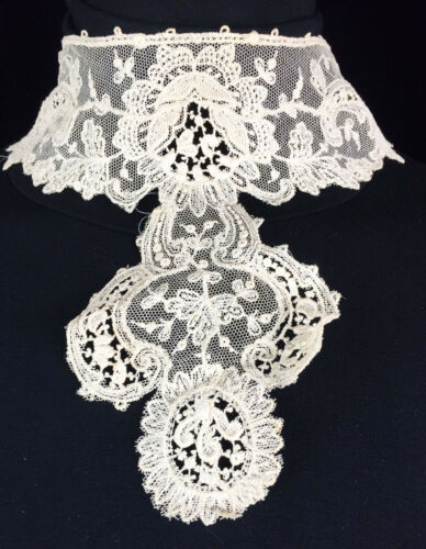 C 1900 Fancy Lace High Collar Edwardian Bodice Insert Tambour ?