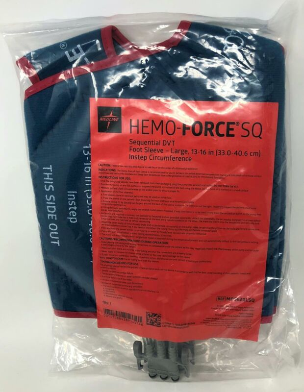 Medline Hemo-Force SQ Sequential DVT Foot Sleeve Pair - Large - MDS620LSQ - NEW