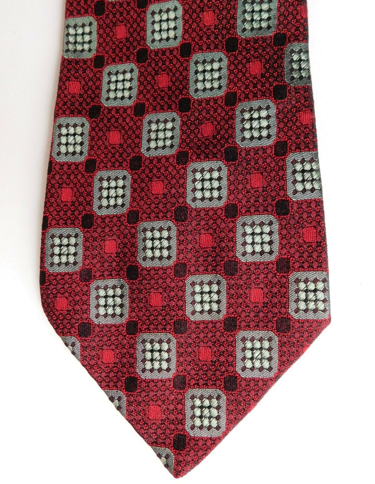 Vintage silk tie Tropiccadilly Airey & Wheeler red 1970s English mens wear