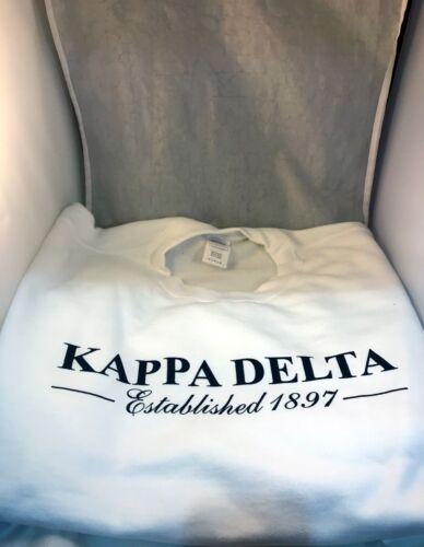Kappa Delta Sorority Crewneck Sweatshirt- White-Size Large-New!