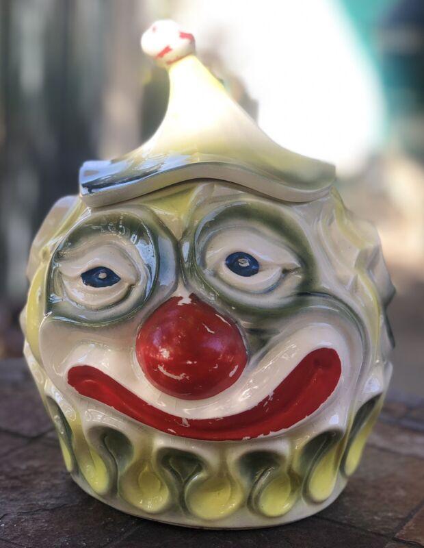Collectible Vintage McCoy Pottery Creepy Clown Ceramic Cookie Jar