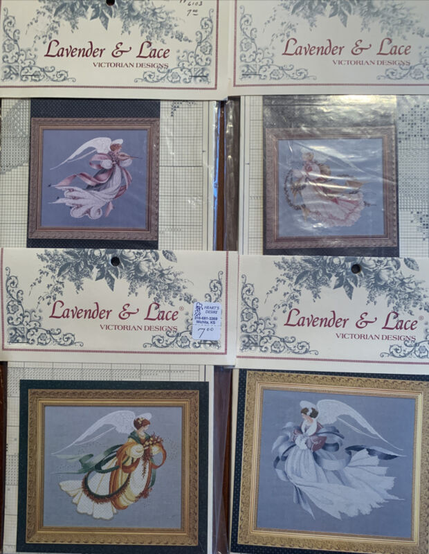 """4 Lavender & Lace Cross Stitch Leaflets """"Angel of Spring, Summer, Autumn, Winter"""