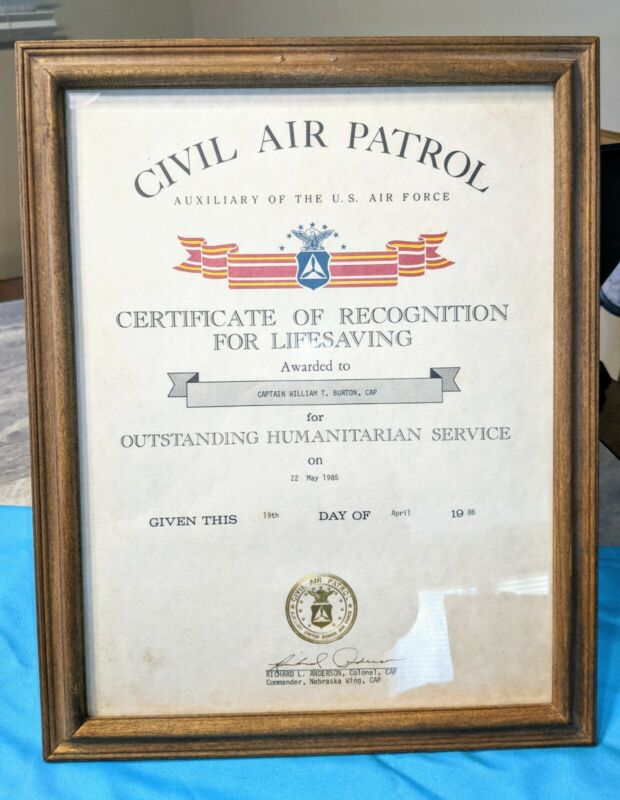 Framed Civil Air Patrol US Air Force Award Document Certificate Of Recognition