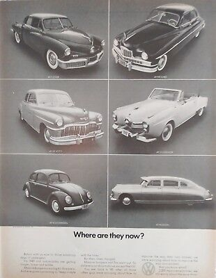 Vintage 1970 Volkswagen Art Ad Poster 1949 Where are They Now Tucker Hudson
