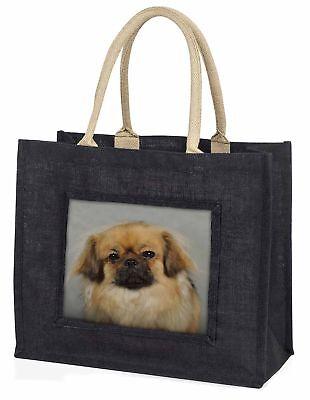 Tibetan Spaniel Dog Large Black Shopping Bag Christmas Present Idea  , AD-TS2BLB
