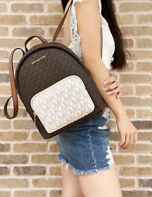 Michael Kors Erin Medium Backpack PVC Leather MK Signature Vanilla Brown Multi