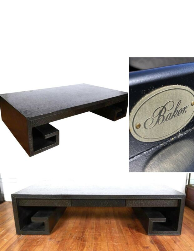 SUPERB MID CENTURY MODERN LEATHER GREEK KEY COCKTAIL TABLE BY BAKER FURNITURE CO