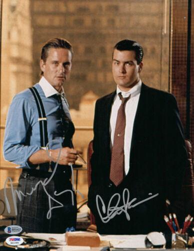 MICHAEL DOUGLAS & CHARLIE SHEEN SIGNED WALL STREET 11X14 PHOTO BAS BECKETT COA 1