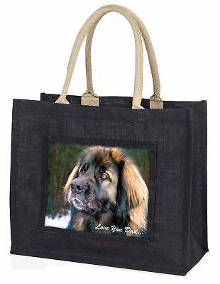 Leonberger Dog 'Love You Dad' Large Black Shopping Bag Christmas Pres, DAD-68BLB
