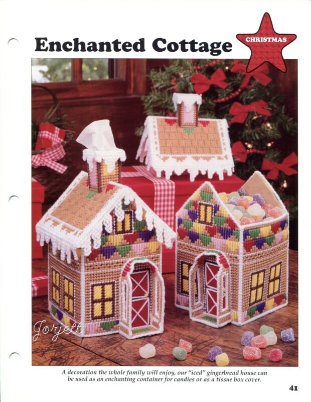Enchanted Cottage Gingerbread House Tissue Candy plastic canvas pattern leaflet