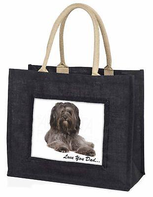 Tibetan Terrier Dog 'Love You Dad' Large Black Shopping Bag Christma, DAD-192BLB