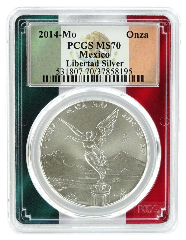 2014 Mexico 1oz Silver Onza Libertad PCGS MS70 - Flag Frame