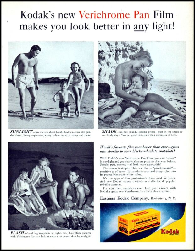 1956 Kodak Verichrome Pan Film Family Day At The Beach Photo Print Ad  adl30
