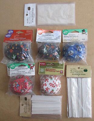 Mixed Lot of Halloween & Christmas Baking Cups Cellophane Bags Lollipop Sticks](Halloween Baking Mixes)