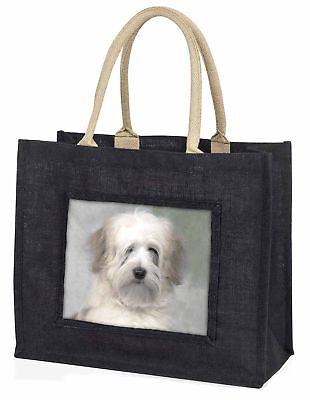White Tibetan Terrier Dog Large Black Shopping Bag Christmas Present , AD-TT1BLB