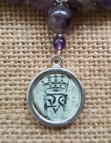Authentic Spanish Colonial Pirate Shipwreck 1/2 Maravedis Coin Amethyst Necklace