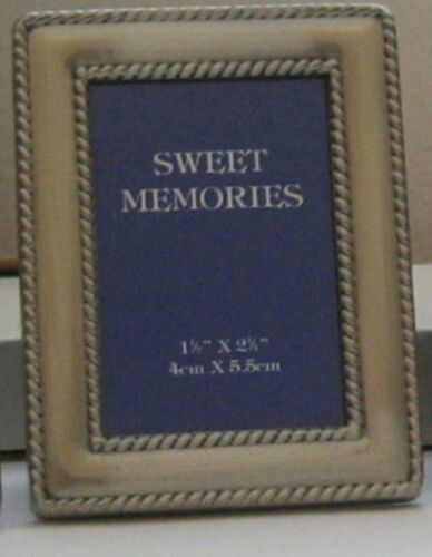 """Pewter Photo Picture Frame Place Card Holder Small 3.25"""" x 2.5"""" NOS"""