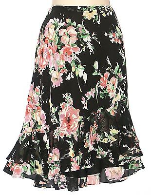 Chaps Black Pink Floral Ruffled Georgette Lined Skirt Womens L XL New $60