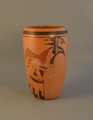 Garnet Pavatea - Old Traditional Hopi Indian Cylinder Pottery Vase Eagle Design