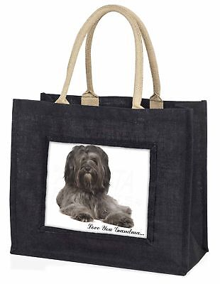 Tibetan Terrier 'Love You Grandma' Large Black Shopping Bag Christ, AD-TT2lygBLB