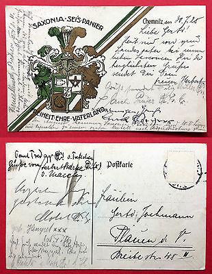 Studentika AK CHEMNITZ 1928 Wappen Saxonia Seis Panier mit Unterschriften( 14514