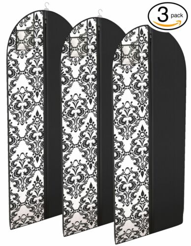 "Dress and Gown Garment Travel Bags 54"" x 24"" Hanging Window Tapered - 3 Pack"
