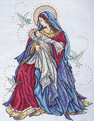 Counted Cross Stitch, Madonna and Child, 12 by 15 inches