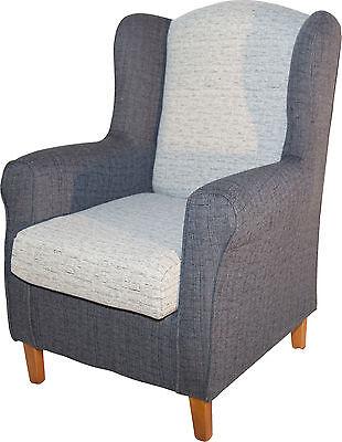 Sillon butaca orejero tapizado blanco y gris de salon comedor Envío montado
