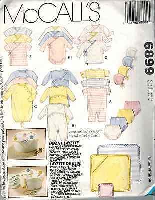 (6899 UNCUT McCalls Sewing Pattern Infant Layette Romper Diaper Cover Cap OOP SEW)