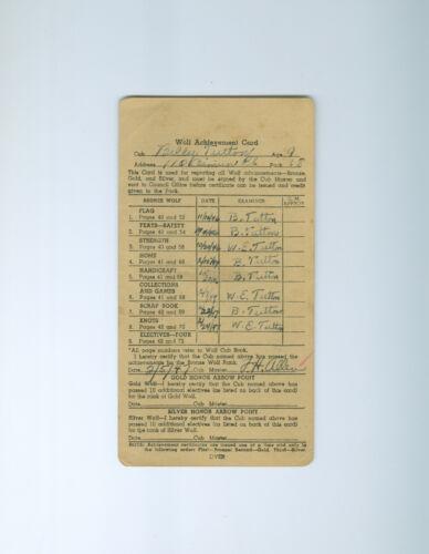 1946  Cub Scouts Wolf Achievement Card