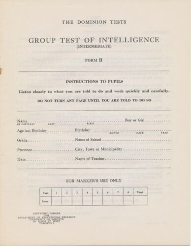1934 Canada ~ The Dominion Tests Group Test of Intelligence ~ 12 Pages Unmarked