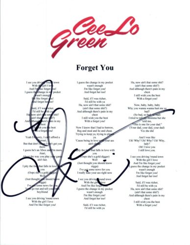CeeLo Green Signed Autographed FORGET YOU Song Lyric Sheet COA