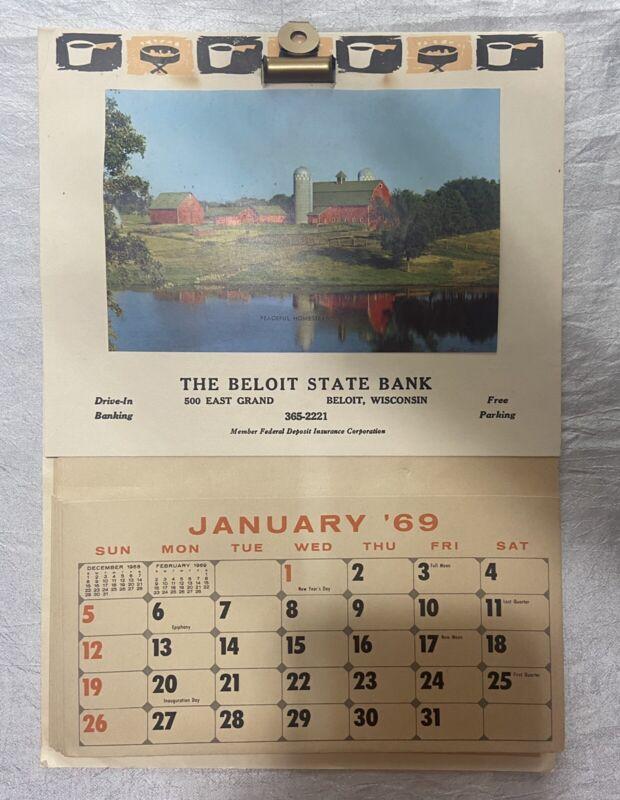 Vintage 1969 Calendar Beloit State Bank Wisconsin Barn Farm - Recipes