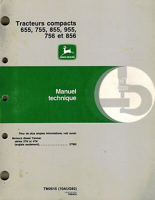 John Deere 655 755 855 955 756 856 Compact Tractor Technical Manual French