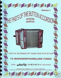 BUTTON ACCORDION, IRISH/NEWFOUNDLAND TUNE BOOK, FOR THE 1, 2 & 3 ROW ACCORDIONS