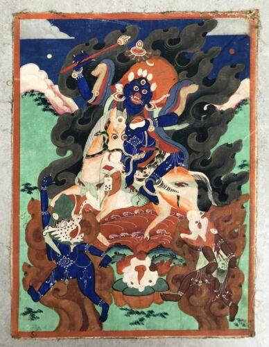 Sino-Tibetan or Mongolian Thangka (Tangka) depicts Palden Lhamo.