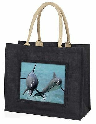Jumping Dolphins Large Black Shopping Bag Christmas Present Idea      , AF-D6BLB