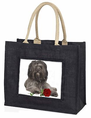 Tibetan Terrier with Red Rose Large Black Shopping Bag Christmas Pre, AD-TT2RBLB
