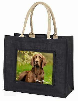 Brown German Pointer 'Yours Forever' Large Black Shopping Bag Chris, AD-GSP1yBLB