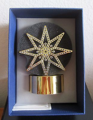 SWAROVSKI CRYSTAL CHRISTMAS TEA LIGHT GOLDEN STAR NEW IN BOX