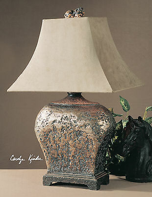 NEW HAND APPLIED SILVER AND BROWN ANTIQUED TABLE LAMP SUEDE SHADE READING (Antiqued Brown Table Lamp)