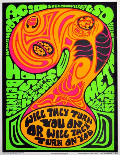 1969 vintage POSTER Government Anti Drug Psychedelic drug propaganda REPRINT