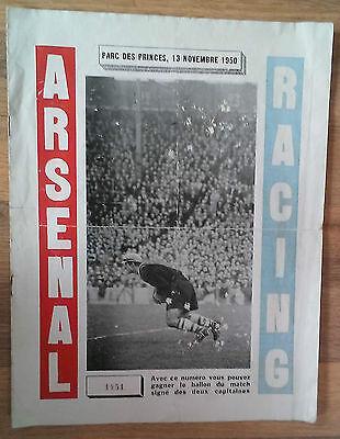 Racing Paris v. Arsenal 13/11/1950 Friendly