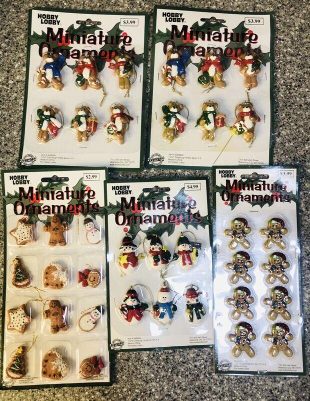 Vintage Hobby Lobby Miniature Christmas Ornaments Gingerbread Men Bears Snowmen