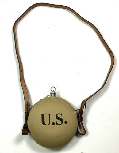 PRE-WWI SPANISH AMERICAN WAR US ARMY M1883 M1885 M1898 CANTEEN & STRAP