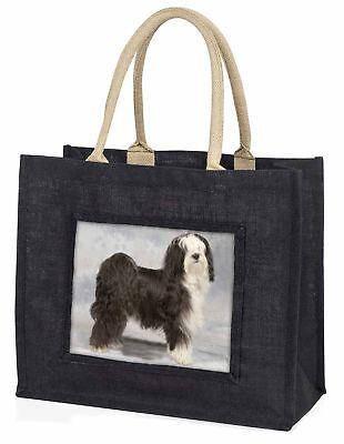 Tibetan Terrier Dog Large Black Shopping Bag Christmas Present Idea  , AD-TT3BLB