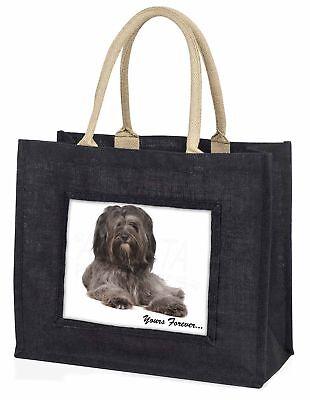 Tibetan Terrier 'Yours Forever'  Large Black Shopping Bag Christmas , AD-TT2yBLB